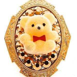 YELLOW FUZZY BEAR GOLD RHINESTONES RING